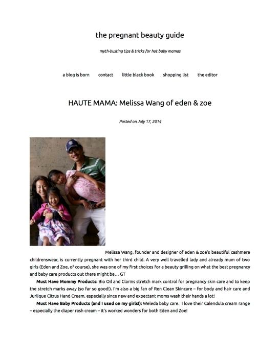 HAUTE MAMA: Melissa Wang of eden & zoe | the pregnant beauty guide