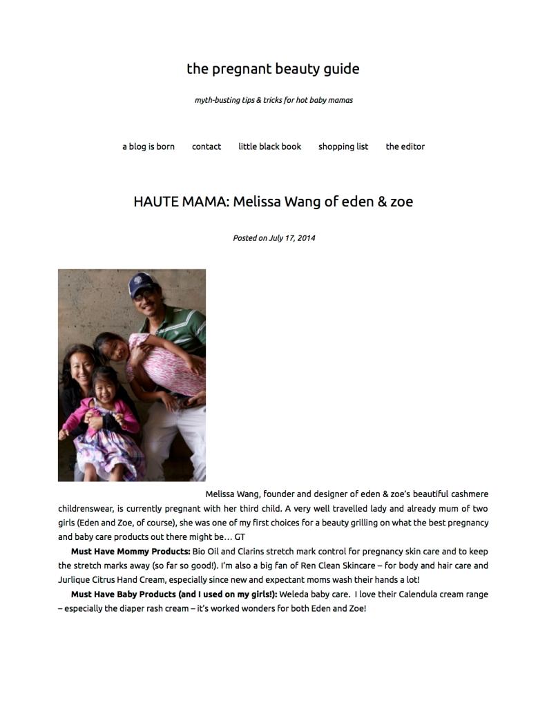 HAUTE MAMA: Melissa Wang of eden & zoe   the pregnant beauty guide