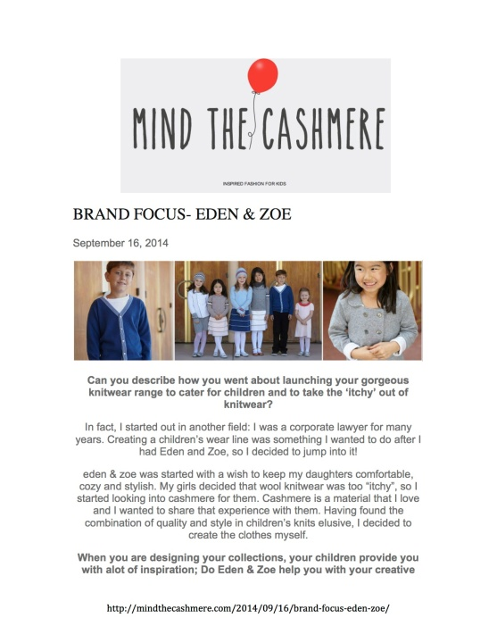 MIND THE CASHMERE PRESS CLIPPING