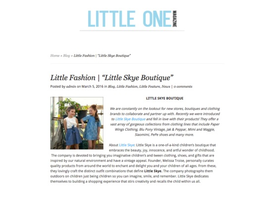 LITTLE SKYE LITTLE ONE MAG